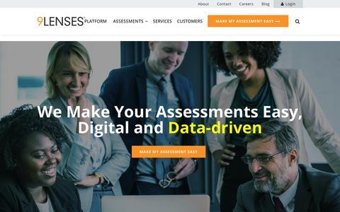 Screenshot of Home Page 9lenses.com - Homepage - 9Lenses, Cloud Assessment Platform. We Make Assessments Easy. - captured July 13, 2018