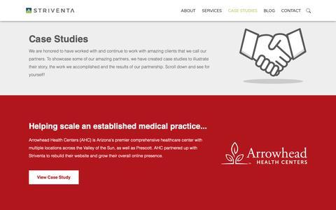 Screenshot of Case Studies Page striventa.com - Case Studies - Striventa - captured Oct. 2, 2018