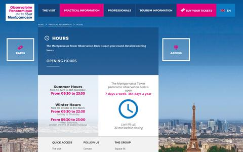 Screenshot of Hours Page tourmontparnasse56.com - Montparnasse Tower hours: open year-round - captured Oct. 12, 2017
