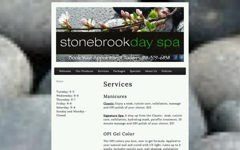 Screenshot of Services Page stonebrookdayspa.com - Stonebrook Day Spa | Services - captured Sept. 30, 2014