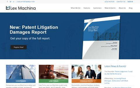 Screenshot of Home Page lexmachina.com - Legal Analytics by Lex Machina - captured July 12, 2014