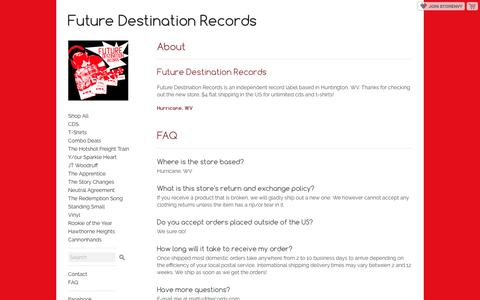 Screenshot of FAQ Page storenvy.com - FAQ · Future Destination Records · Online Store Powered by Storenvy - captured June 1, 2016