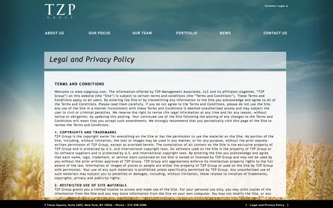 Screenshot of Terms Page tzpgroup.com - LEGAL AND PRIVACY POLICY | TZP Group - captured Sept. 21, 2018