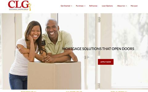 Screenshot of Home Page clghomeloans.com - Mortgage loans with top-rated service | Centennial Lending Group - captured July 15, 2019