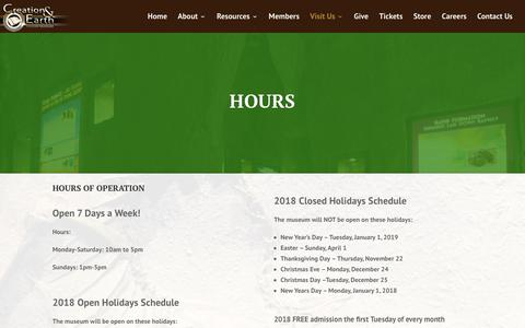 Screenshot of Hours Page creationsd.org - Hours - captured Oct. 26, 2018
