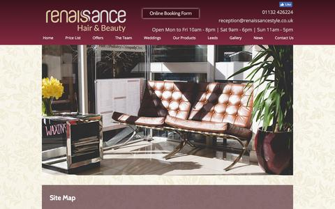Screenshot of Site Map Page renaissancestyle.co.uk - Wedding Hair Leeds, Hair Salon Leeds, Hairdressers Leeds, Site Map - captured Oct. 24, 2017