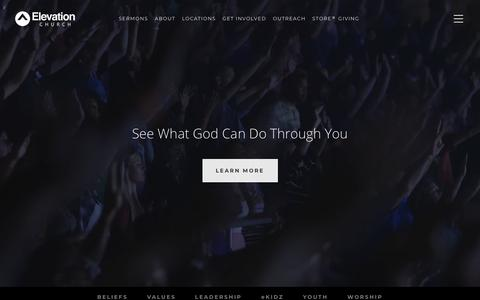 Screenshot of About Page elevationchurch.org - About - Elevation Church - captured Sept. 12, 2018