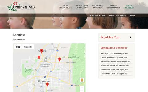 Screenshot of Locations Page springstonekids.com - Locations | SpringStone Montessori Preschool - captured Oct. 19, 2018