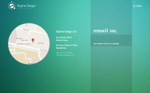 Screenshot of Contact Page skylinedesign.co.ke - Contact Martian HQ — Skyline Design Ltd - captured Sept. 24, 2014