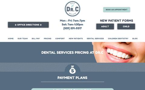 Screenshot of Pricing Page drcfamilydentistry.com - Spokane Valley Dentist That Accepts Insurance | Dental Payment Plans - captured Aug. 8, 2018