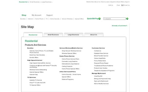 Screenshot of Site Map Page centurylink.com - CenturyLink | Site Map - captured July 19, 2014