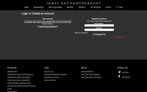 Screenshot of Login Page jameskay.com - Customer Login - captured Nov. 26, 2016