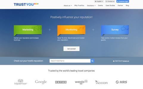 Screenshot of Home Page trustyou.com - Online Reputation Management for Hotels, Destinations, Intermediaries - captured Sept. 12, 2014