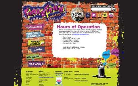 Screenshot of Hours Page funkytownparties.com - Funkytown Parties -  Hours of operation - captured Sept. 30, 2014