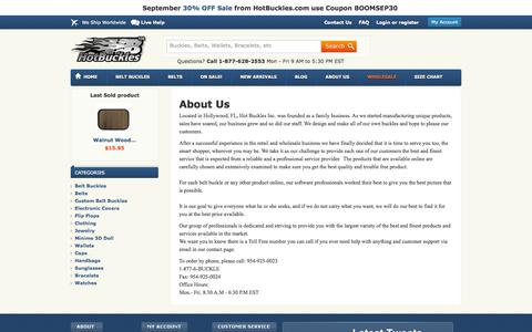 Screenshot of About Page hotbuckles.com - About us - Hot Buckles - captured Sept. 18, 2014