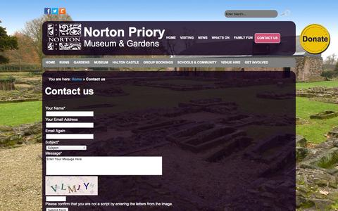Screenshot of Contact Page nortonpriory.org - Norton Priory - Contact us - captured Oct. 26, 2014
