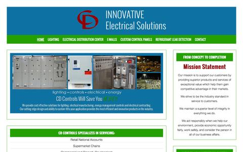 Screenshot of Home Page cdcontrols.com - Electrical Solutions | Lighting | Controls | Electrical | Energy Management | CD Controls - captured Feb. 1, 2016