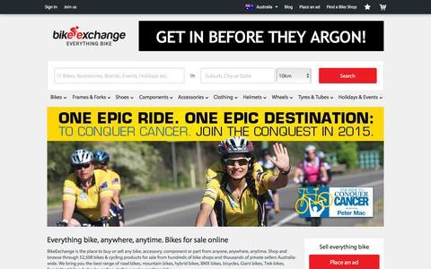 Screenshot of Home Page bikeexchange.com.au - Bikes for Sale   Bike and Cycling Shops - BikeExchange.com.au - captured Oct. 14, 2015