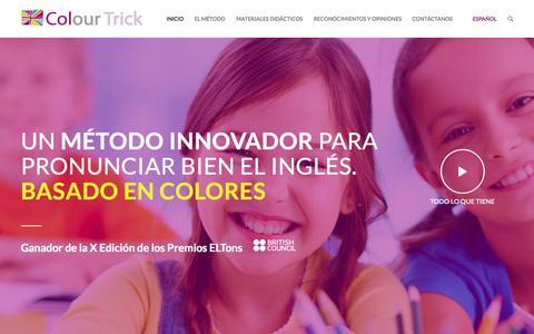 Screenshot of Home Page colourtrick.com - Método de enseñanza del inglés basado en colores para colegios - Colour Trick. Aprender inglés y su pronunciación - captured Sept. 18, 2015