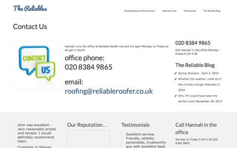 Screenshot of Contact Page reliableroofer.co.uk - Reliable Roofer Ltd - a family business - captured Feb. 26, 2016