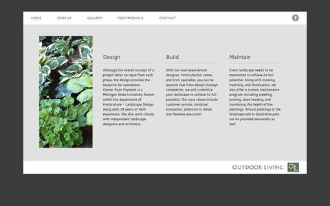 Screenshot of Services Page outdoormi.com - Outdoor Living | Services - captured Nov. 5, 2014