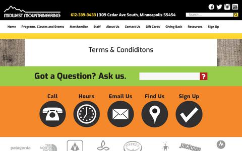 Screenshot of Terms Page midwestmtn.com - Terms & Condiditons - Midwest Mountaineering - captured Oct. 25, 2017