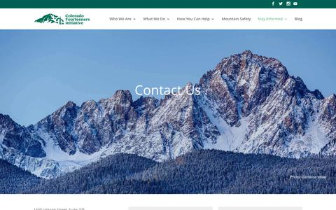Screenshot of Contact Page 14ers.org - Contact US | Colorado Fourteeners Initiative - captured Sept. 28, 2018