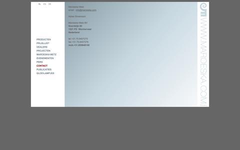 Screenshot of Contact Page maroeska.com - CONTACT - captured Oct. 3, 2014
