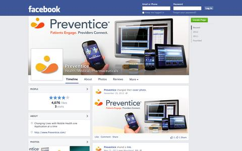 Screenshot of Facebook Page facebook.com - Preventice - Minneapolis, Minnesota - Health/Medical/Pharmaceuticals | Facebook - captured Oct. 22, 2014
