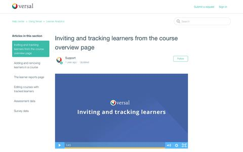 Screenshot of Support Page versal.com - Inviting and tracking learners from the course overview page – Help center - captured Dec. 3, 2019