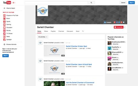 Screenshot of YouTube Page youtube.com - Sartell Chamber  - YouTube - captured Oct. 23, 2014