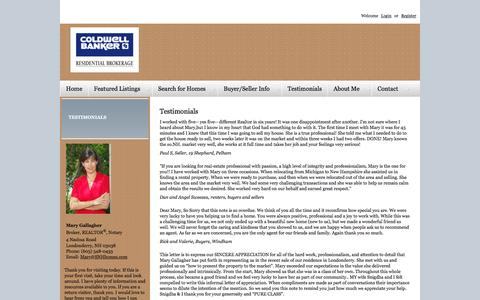 Screenshot of Testimonials Page snhhomes.com - Testimonials | Londonderry New Hampshire Real Estate. Homes for Sale in Londonderry. Londonderry Home Search. Mary Gallagher, Broker, REALTOR, Notary Londonderry's premier real estate service with homes for sale in Londonderry, Derry and all of South - captured Feb. 1, 2016