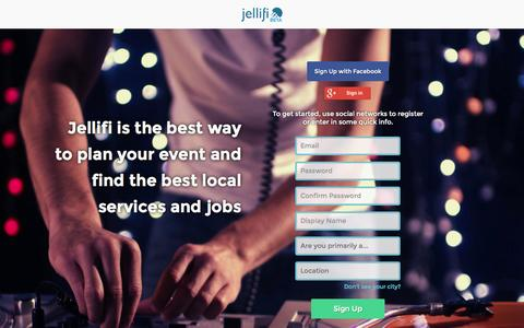 Screenshot of Signup Page jellifi.com - Event Planning Marketplace for Austin, Texas | Jellifi.com - captured Sept. 30, 2014