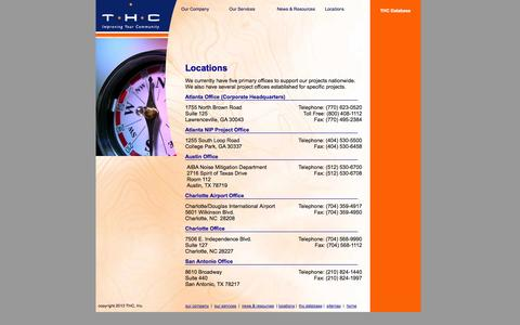 Screenshot of Locations Page thcinc.net - THC inc - Improving Your Community - captured Sept. 30, 2014