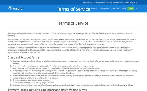 Screenshot of Terms Page classpro.in - Classpro Terms - captured July 13, 2016