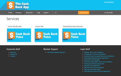 Screenshot of Services Page thecashbackapp.com - Services - The Cash Back App: Everybody Wins! Get Cash Back and Loyalty Rewards on your Shopping, Plus build a passive income!   Get the FREE Cash Back App - captured Dec. 13, 2016