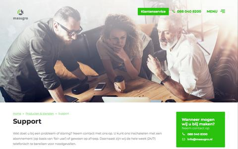 Screenshot of Support Page masugro.nl - Support - Masugro - captured Sept. 20, 2018