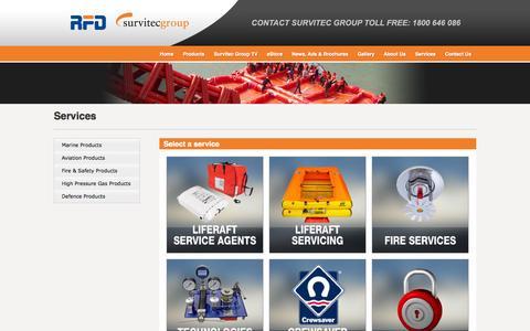 Screenshot of Services Page rfd.com.au - Survitec Group Australia - Marine Products - captured Oct. 7, 2014