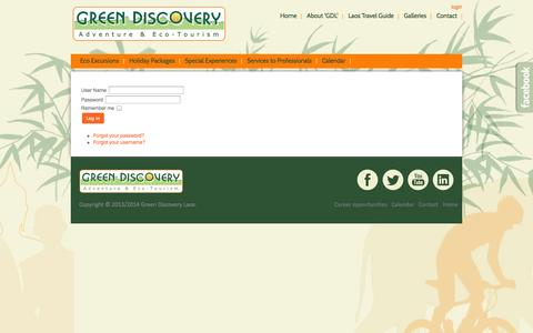 Screenshot of Login Page greendiscoverylaos.com - Green Discovery Laos - Eco Excursions - Holiday Packages - Special Experiences - Services to Professionals - captured Sept. 27, 2014