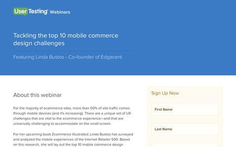 Screenshot of Landing Page usertesting.com - OnDemand Webinar - Tackling the top 10 mobile commerce design challenges| UserTesting - captured Aug. 19, 2016