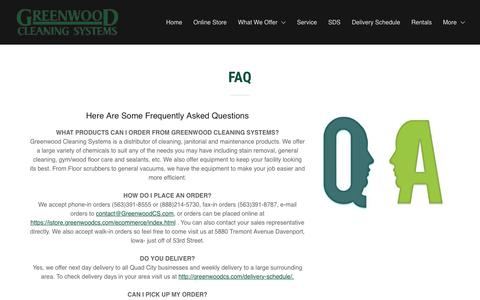 Screenshot of FAQ Page greenwoodcs.com - FAQ | Greenwood Cleaning Systems - captured Nov. 11, 2018