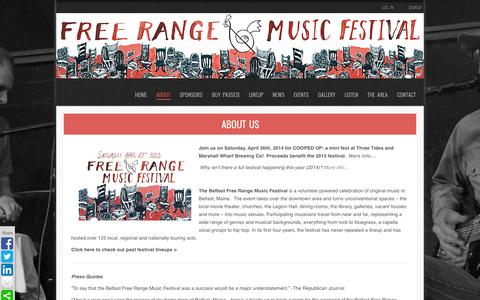 Screenshot of About Page freerangemusicfestival.com - About Us | BELFAST FREE RANGE MUSIC FESTIVAL - captured Sept. 30, 2014