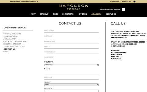 Screenshot of Contact Page napoleonperdis.com - Contact Us - captured Dec. 21, 2018