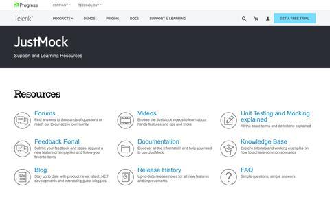 Screenshot of Trial Page Support Page telerik.com - Support Resources for Telerik JustMock - captured June 21, 2017