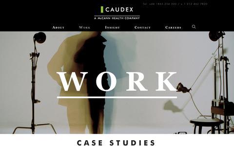 Screenshot of Case Studies Page caudex.com - Work | Caudex - captured July 17, 2017