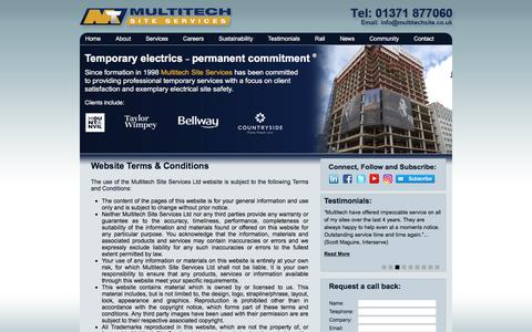 Screenshot of Terms Page temporary-electrics.co.uk - Multitech Site Services | Website Terms of Use - captured Oct. 23, 2017