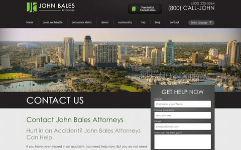 Screenshot of Contact Page johnbales.com - Contact Us | John Bales Attorneys - captured Oct. 6, 2014