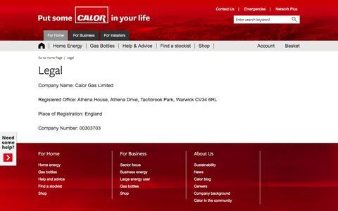 Screenshot of Terms Page calor.co.uk - Legal - captured Oct. 17, 2016