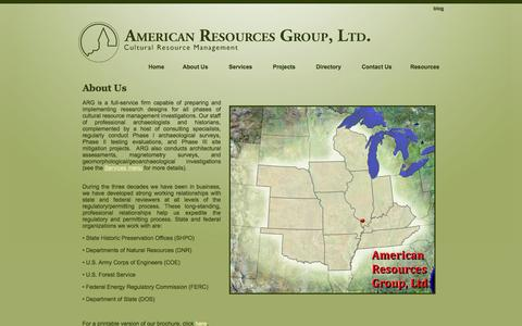 Screenshot of About Page argltd.com - About Us | American Resources Group, LTD. - captured Oct. 4, 2014