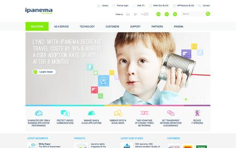 Screenshot of Home Page ipanematech.com - Application performance guarantee for business efficiency - Ipanema Technologies - captured Sept. 16, 2014